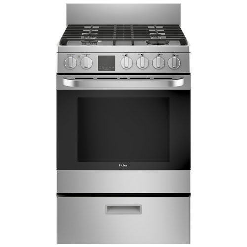 """Haier 24"""" 2.9 Cu. Ft. Convection Free-Standing Gas Range - Stainless Steel"""