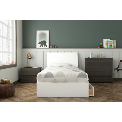 Icon 4 Piece Twin Size Bedroom Set Ebony White Bedroom Sets