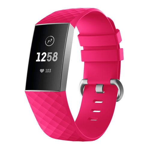 StrapsCo Classic Silicone Rubber Replacement Watch Band Strap for Fitbit  Charge 3 - Medium-Long - Rose