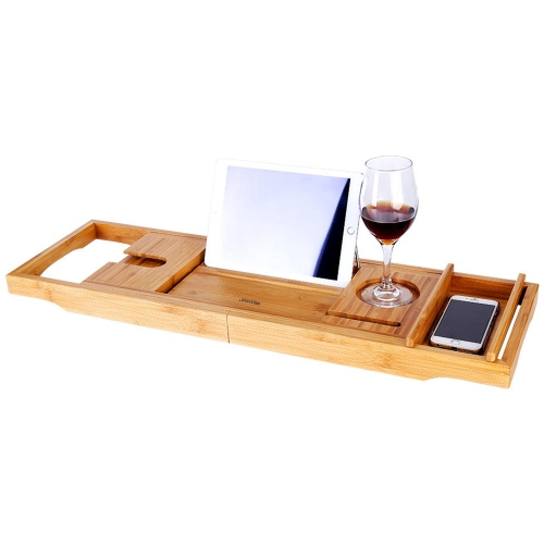 Bac à caddie pour baignoire en bambou avec côtés extensibles et support de lecture - SortWise™