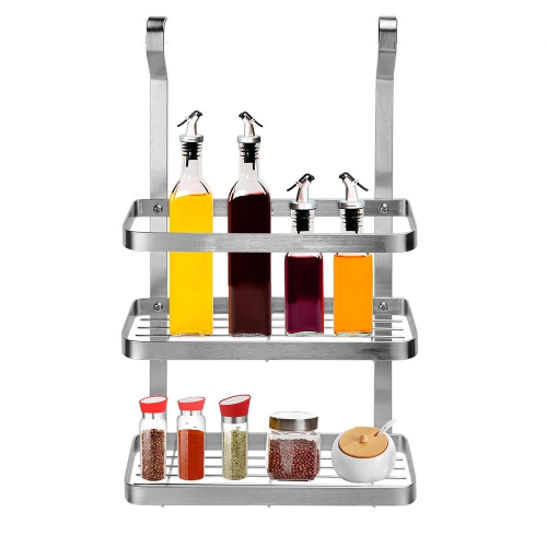 Spice Rack Wall Mount 2 Tier Stainless Steel Hanging Storage Rack