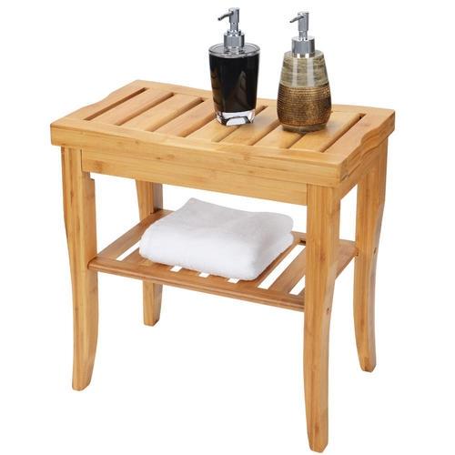 Banc de douche en bambou avec étagère de rangement - SortWise ™