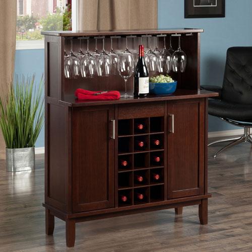Beynac Transitional 15-Bottle Bar Cabinet - Cappuccino