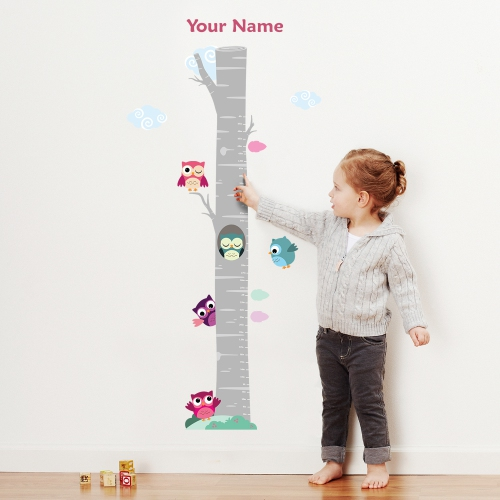 Olivers Labels Owls On Tree Personalized Growth Chart Wall Decal