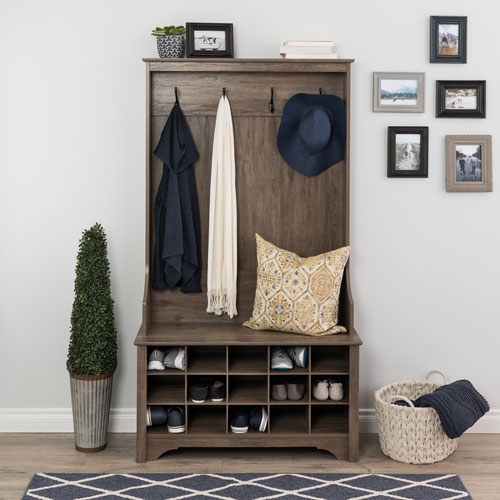 Awesome Prepac Transitional Wide Hall Tree Organizer With Shoe Storage Drifted Grey Evergreenethics Interior Chair Design Evergreenethicsorg