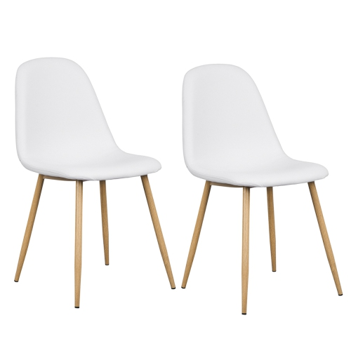 White Faux Leather Dining Chairs With Wood Finished Metal Legs Set