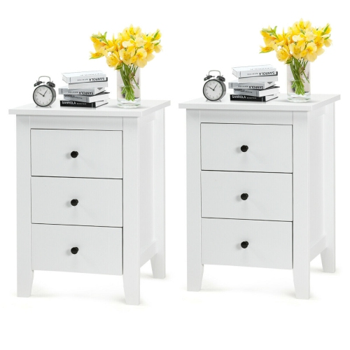 2pcs Nightstand End Beside Table, White Bedroom Furniture Canada