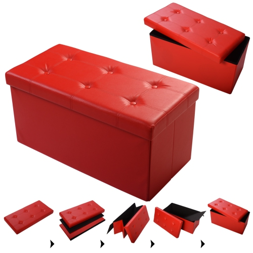 Magnificent Costway Faux Leather Large Folding Storage Ottoman Pouffe Box Stool Red Evergreenethics Interior Chair Design Evergreenethicsorg