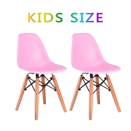 Swell Kids Dining Chair Set Wood Dowel Legs Molded Abs Plastic Seat Armless Pink Theyellowbook Wood Chair Design Ideas Theyellowbookinfo