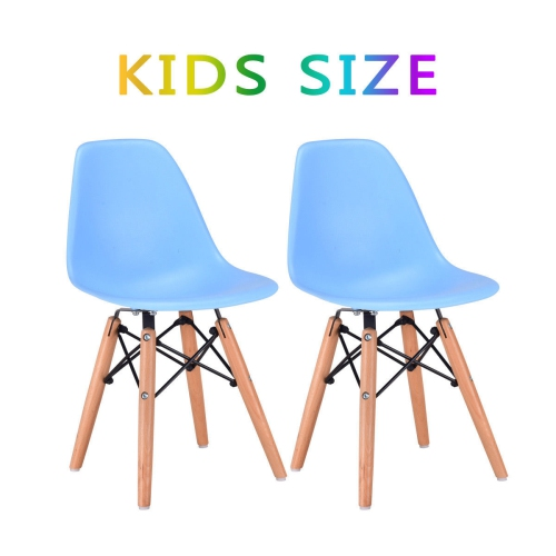Marvelous Kids Dining Chair Set Wood Dowel Legs Molded Abs Plastic Seat Armless Blue Theyellowbook Wood Chair Design Ideas Theyellowbookinfo
