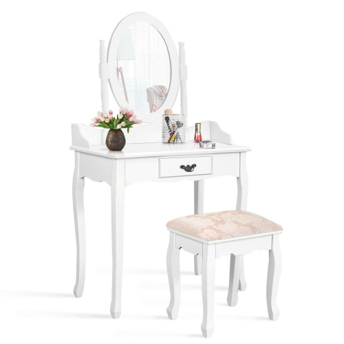 Marvelous Costway Vanity Wood Makeup Dressing Table Stool Set Jewelry Desk W Drawer Mirror Bathroom White Black Gmtry Best Dining Table And Chair Ideas Images Gmtryco