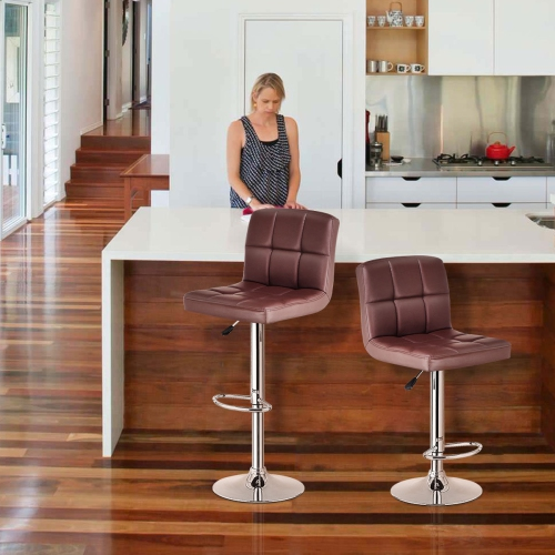 Terrific Set Of 2 Bar Stools Pu Leather Adjustable Barstool Swivel Pub Chairs Brown Beatyapartments Chair Design Images Beatyapartmentscom