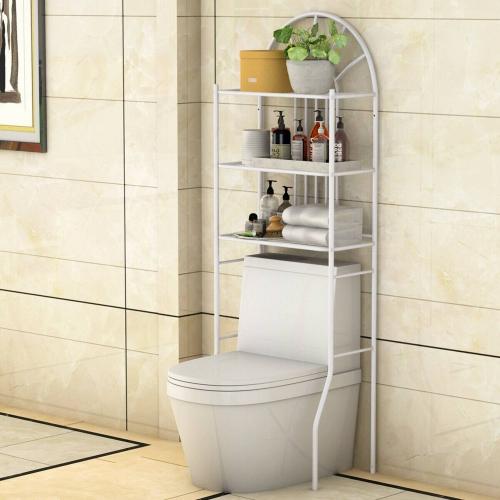 COSTWAY Etagère pour Toilette Etagère WC Meuble de Rangement dessus WC Salle de Bains Lave-linge 3 Tablettes Etagères en Métal Blanc, 59 x 37 x 173 cm
