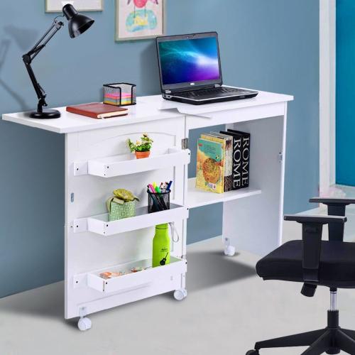 Costway Folding Swing Craft Table Shelves Storage Cabinet Home W Wheels Best Buy Canada
