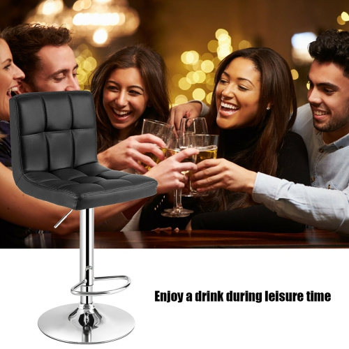Marvelous Adjustable Bar Stool Swivel Pu Leather Barstools Bistro Pub Chair Black Beatyapartments Chair Design Images Beatyapartmentscom