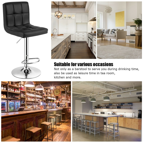 Pleasing Adjustable Bar Stool Swivel Pu Leather Barstools Bistro Pub Chair Black Beatyapartments Chair Design Images Beatyapartmentscom