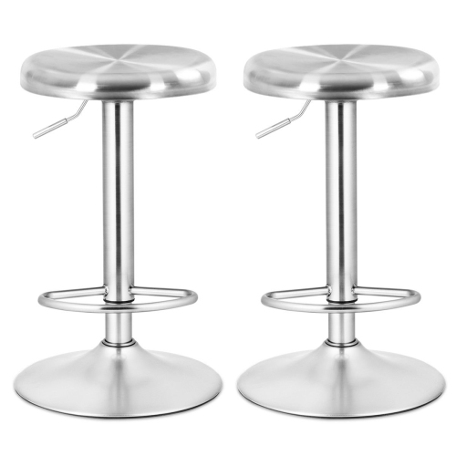 Fine Costway 2 Pcs Brushed Stainless Steel Swivel Bar Stool Seat Adjustable Height Round Top Squirreltailoven Fun Painted Chair Ideas Images Squirreltailovenorg