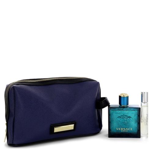 Versace Eros by Versace Gift Set -- 3.4 oz Eau De Toilette Spray +0.3 oz  Mini EDT Spray in Pouch - Online Only 5ab337c86c4dc