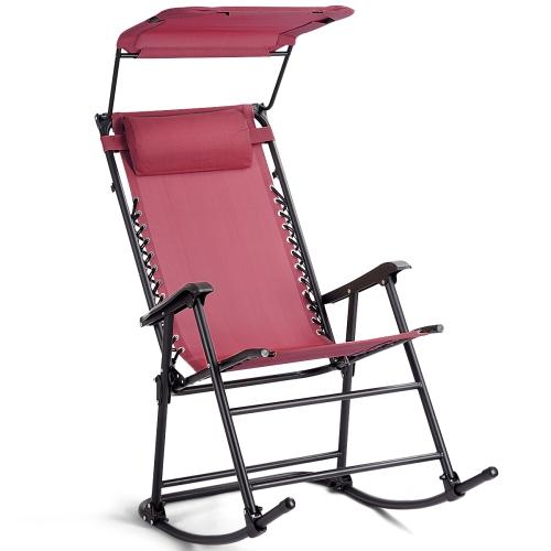 Folding Zero Gravity Rocking Chair Rocker Porch Furniture Sunshade Canopy