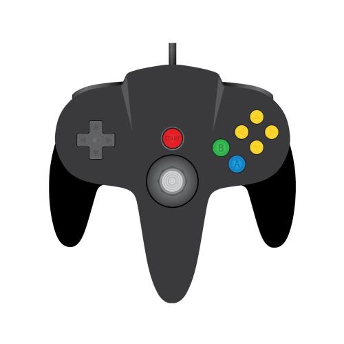 TeknoGame Retro Analog Gamepad USB PC/ Mac Wired Controller For Nintendo  64, N64, Black