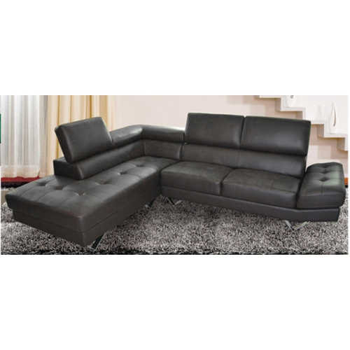Gino Contemporary Leather Sectional Sofa With Left Facing Chaise