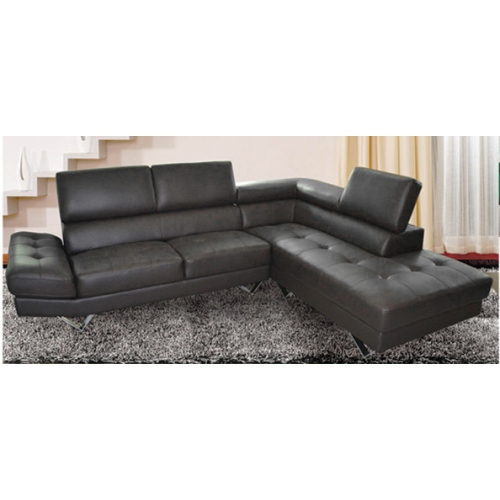 Gino Contemporary Leather Sectional Sofa With Right Facing Chaise