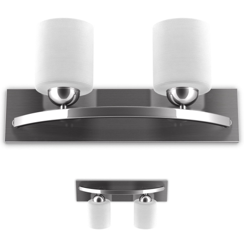 2 Light Glass Wall Sconce Pendant Lampshade Fixture Vanity Metal Bathroom