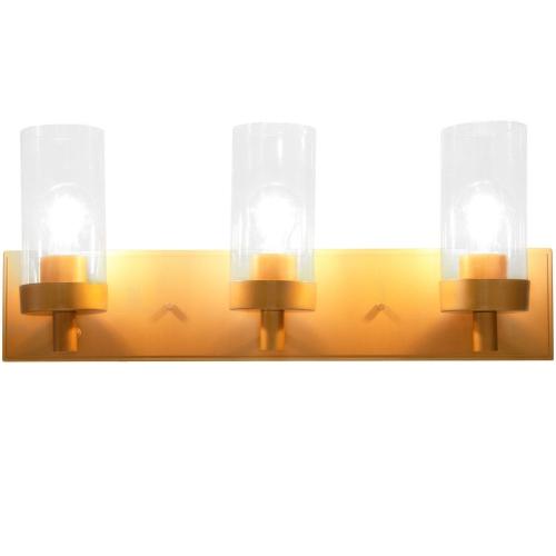 Costway 3-Light Vanity Lamp Gold Finish Clear Glass Shade Bathroom Fixture UL