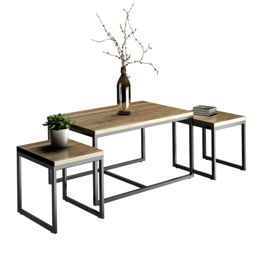 3 piece nesting coffee & end table set wood modern living room
