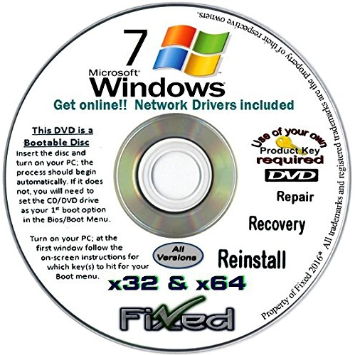 Windows 7 Recovery Disc for 32 & 64 Bit Systems