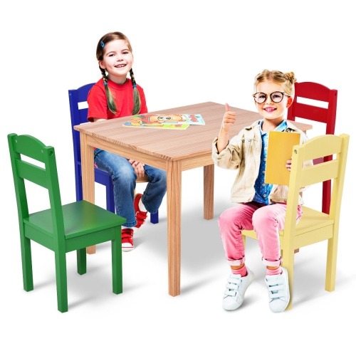 Magnificent Kids 5 Piece Table Chair Set Pine Wood Multicolor Children Play Room Furniture Theyellowbook Wood Chair Design Ideas Theyellowbookinfo
