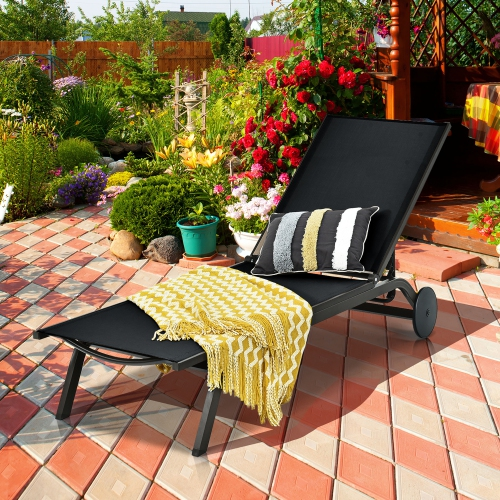 Costway Outdoor Lounge Chair Chaise Reclining Aluminum Fabric Adjustabl