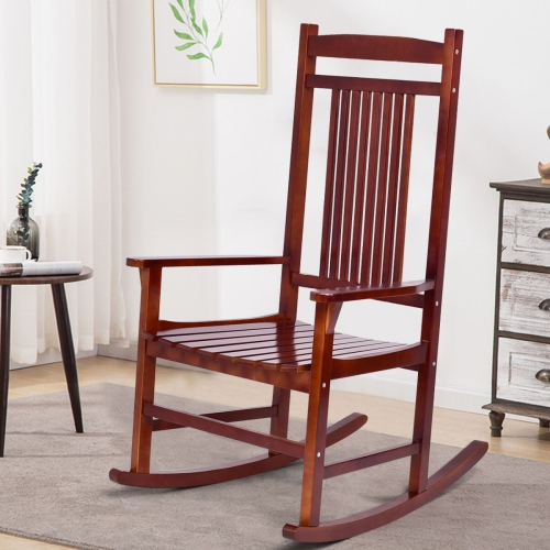 Costway Solid Wood Porch Rocking Chair Rocker Garden Patio Backyard