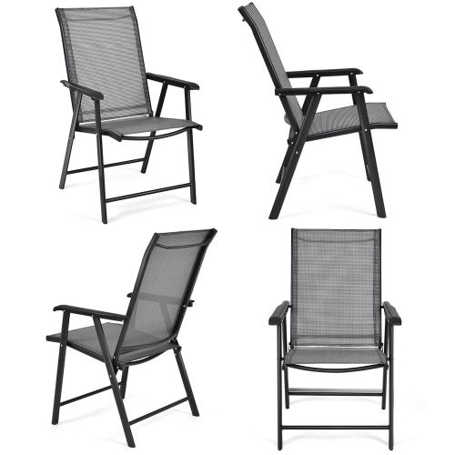 Ensemble de 4 Chaises de Jardin Pliables avec Accoudoirs pour Camping, Terrasse, Cour, Piscine, Plage