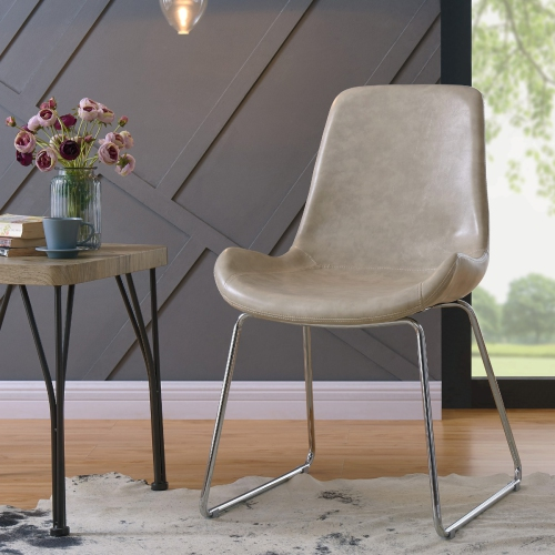 Stupendous Brillcool Otis Modern Faux Leather Upholstered Living Room Accent Chair In Ivory Ibusinesslaw Wood Chair Design Ideas Ibusinesslaworg