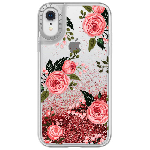 new product b00ef 1edbf Casetify Glitter Fitted Soft Shell Case for iPhone XR - Pink Roses