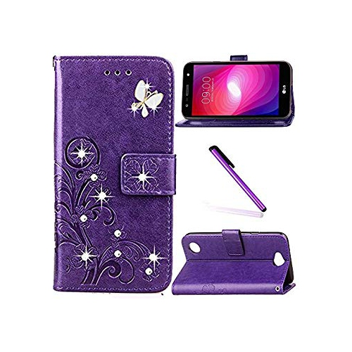 hot sale online e1851 772b8 LG X Power 2 Case,LEECOCO 3D Bling Crystal Diamonds Lucky Clover Floral  with Card Slots Flip Stand PU Leather Wallet Case for