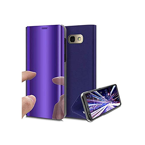 Blue Kickstand LEECOCO Case for Galaxy J3 Prime Luxury Clear View Electroplate Plating Mirror Makeup Full Body Cover Flip PC and PU Leather Case Cover for Samsung Galaxy J3 2017 Mirror PU