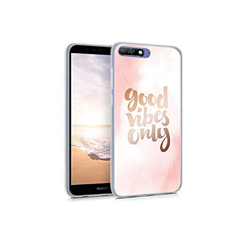 wholesale dealer e8000 794e4 kwmobile Case for Huawei Y6 (2018) - TPU Silicone Crystal Clear Back Case  Protective Cover IMD Design - Light Pink Rose Gold W