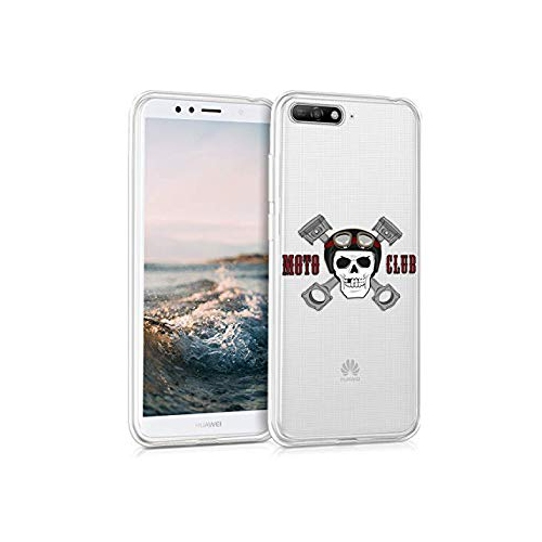 big sale 8dd37 be14a kwmobile TPU Silicone Case for Huawei Y6 (2018) - Crystal Clear Smartphone  Back Case Protective Cover - White Red Transparent