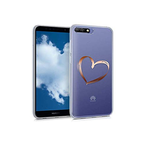 low priced 6d5ee 0bb53 kwmobile TPU Case for Huawei Y6 (2018) - Soft TPU Silicone Cover - Crystal  Clear Back Case IMD Design - Rose Gold Transparent
