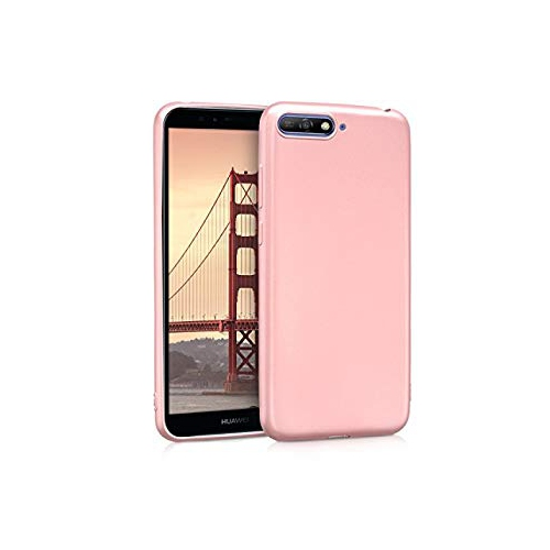 huge selection of 00beb 25483 kwmobile TPU Silicone Case for Huawei Y6 (2018) - Soft Flexible Shock  Absorbent Protective Phone Cover - Metallic Rose Gold