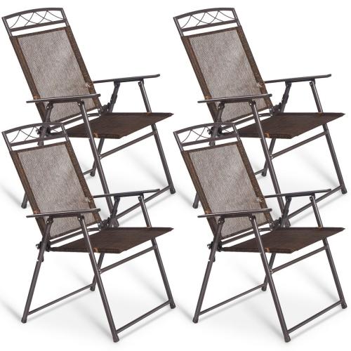COATWAY Lot de 4 Chaises Pliantes de Jardin en Textilène avec 2 Accoudoirs,Anti-dérapant pour l'Intérieur,l'Extérieur