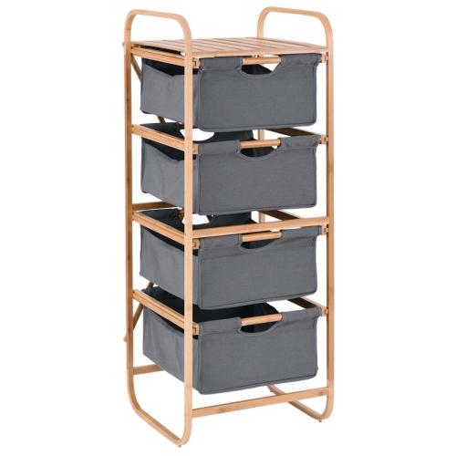 4 Sliding Drawer Bamboo Dresser Storage Unit Organizer Laundry
