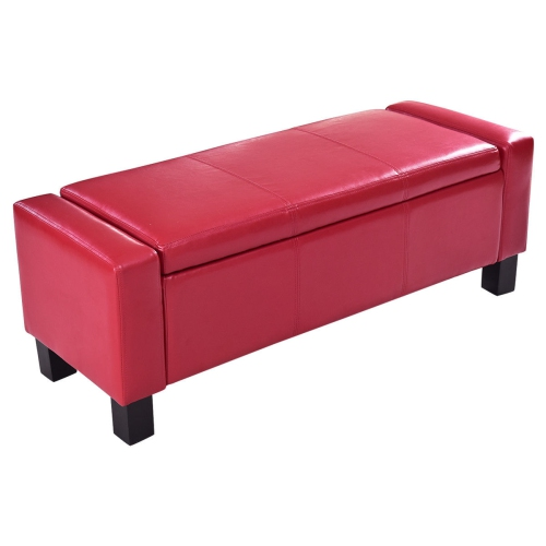Remarkable Pu Leather Ottoman Bench Storage Chest Footstool Organizer Chair Red Evergreenethics Interior Chair Design Evergreenethicsorg