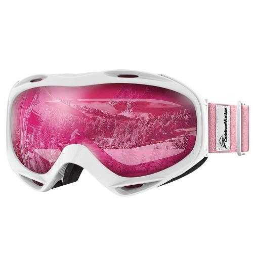 10e681f4532 OutdoorMaster Helmet Compatible Kids Ski Snow Goggles Boys   Girls 100% UV  Protection (White-Pink + Pink (VLT 46%)) - Online Only