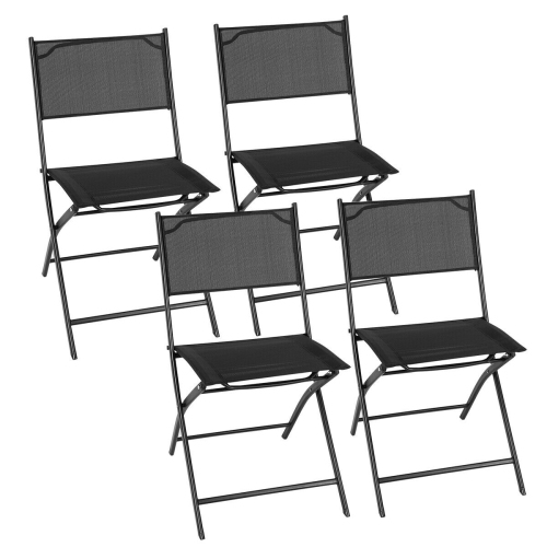 Set of 4 Patio Folding Chairs Camping Deck Garden Pool Beach Furniture