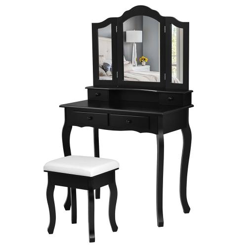 Costway Vanity Makeup Dressing Table, Black Vanity Set With Lighted Mirror And Stool
