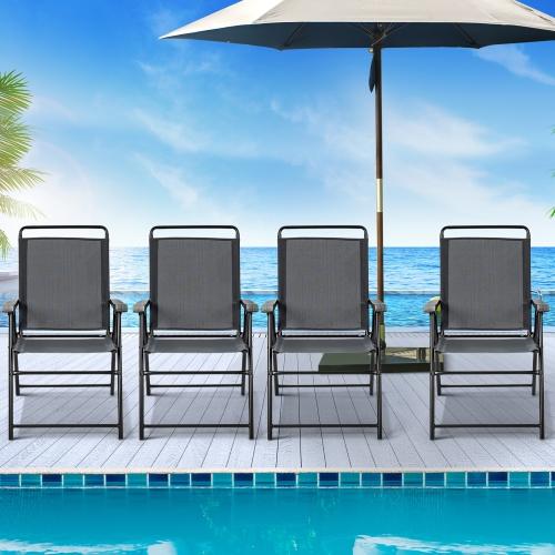 Costway Ensemble de 4 Chaises de Jardin Pliables Portables avec Accoudoirs, pour Camping, Jardin, Terrasse