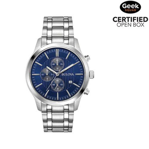 c527034adcfd Bulova 43mm Men s Chronograph Dress Watch - Silver Blue - Open Box - Online  Only